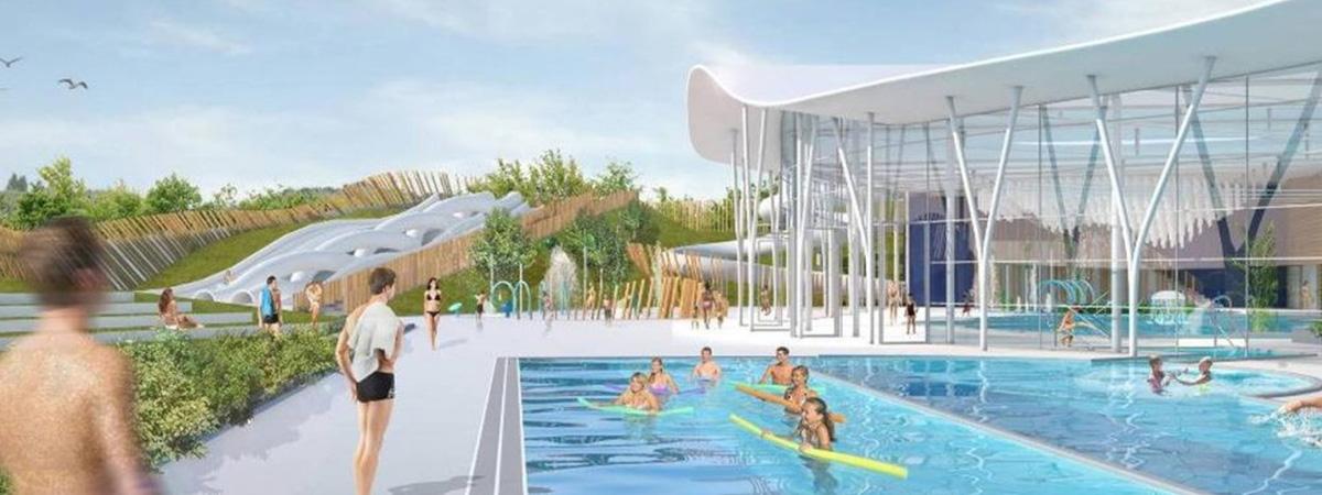 Centre Aquatique Maquette 3D d'Illustration, Cabinet d'architecture Jacques Rougerie