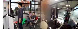 Vidéo 3D Agence bancaire Crédit Agricole avec parallèle une photo 360° d'un espace de réception