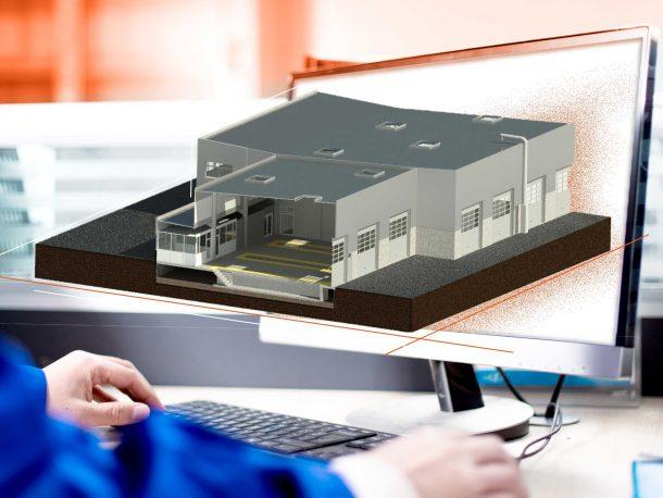 Maquette numérique 3D représentant hangar Volvo