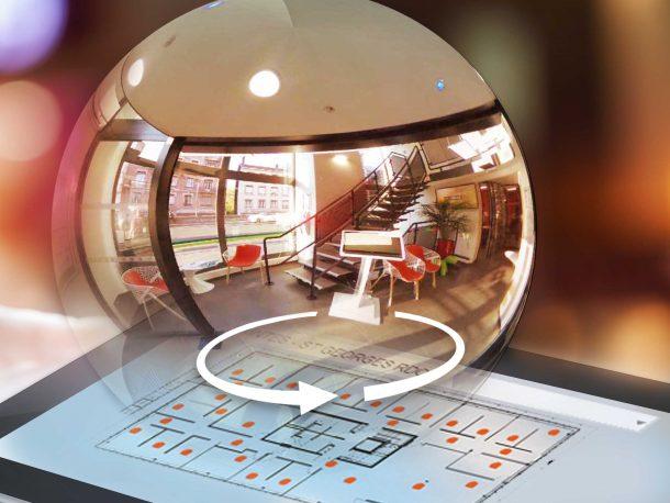 Illustration Visite Virtuelle 360° géolocalisé sur Plan 2D