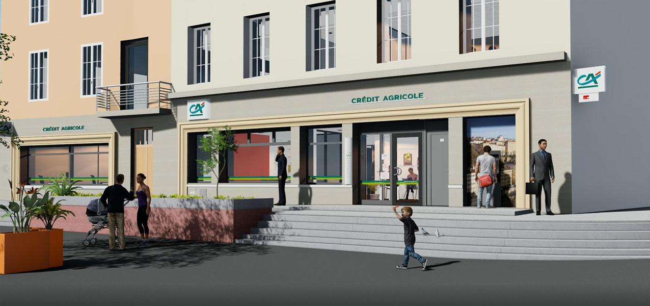 Maquette numérique 3D et vidéo 3D Agence Bancaire Crédit Agricole