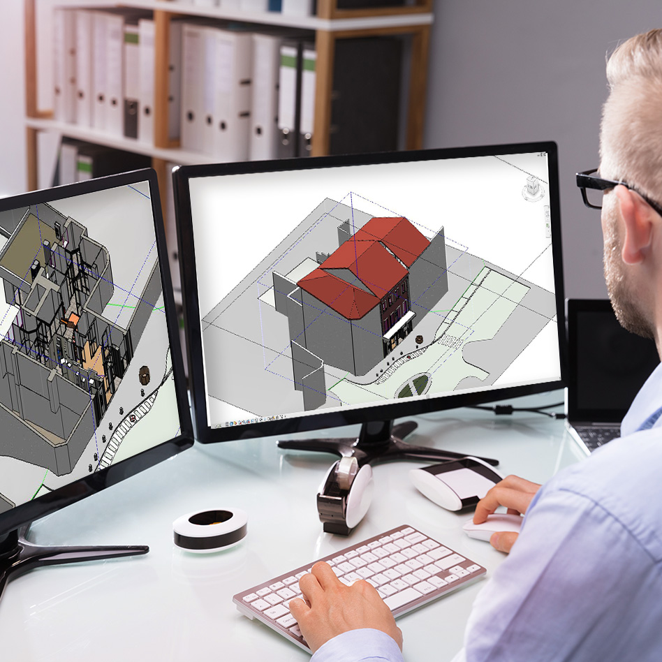 BIM Modeleur devant écran et Maquette numérique 3D