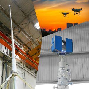 Relevés Scanner Laser 3D Mât télescopique ou Drones