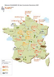 Illustration Carte France représentant les m² Tertiaires CNPE EDF